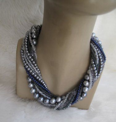 Bold Bridal Wedding ,Handmade,chunky layered black pearl necklace