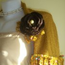 Knitted mustard shrug,crochet flower..Handmade.OOAK.