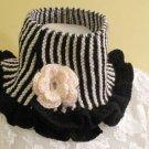 Knitted-Crocheted black-white neck warmer.OOAK