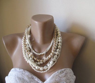 Wedding ivory-caramel glass pearl, ivory seed bead necklace. Bold Bridal,Handmade,chunky layered