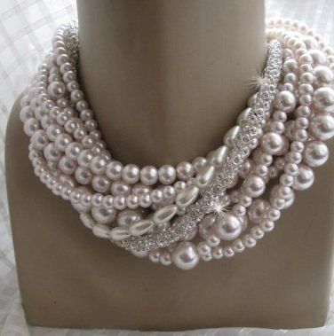 Wedding, Chunky layered,  glass pearl necklace