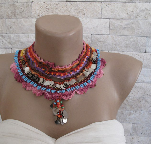 Statement necklace- beaded crochet,  seed beads and crocheted cotton lace. metal sequins, OOAK