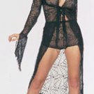 2PC. SPIDER WEB LACE TIE FRONTS LONG GOWN W/ MATCHING SHORTS.