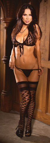 3 piece set Wave bra, g-string and stockings