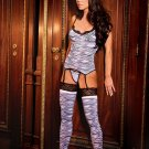 3 piece set Zebra print camisette, g-string and stockings