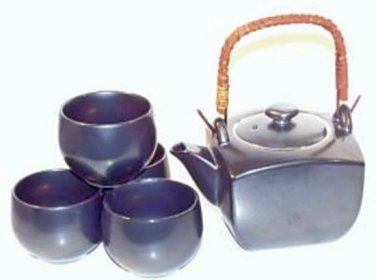 Iron Glaze Square Teapot Gift Set (Handcrafted in Japan)