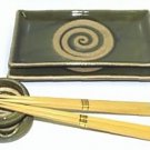 Olive Green Sushi Plate Gift Set (Handcrafted in Japan)