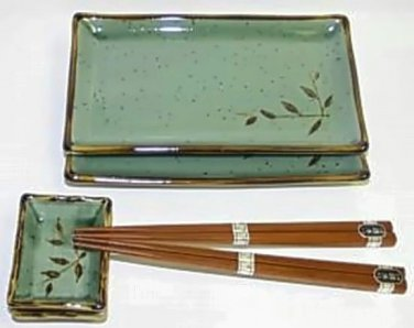 Wild Reed Sushi Plate Gift Set / Handcrafted in Japan