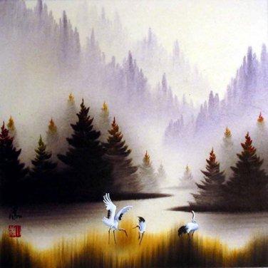 Mountain Cranes / Watercolor Painting (Original)
