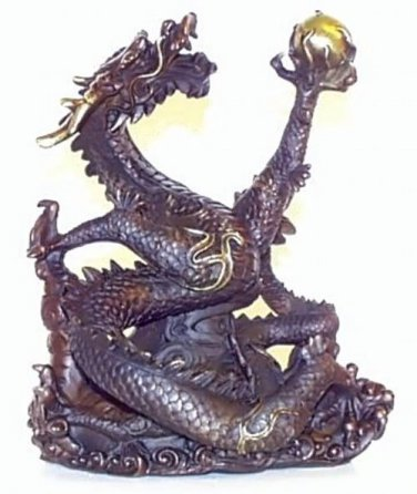 "Bronze Dragon Sculpture 7.2"""