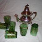 Moroccan chromed copper teapot & glasses set