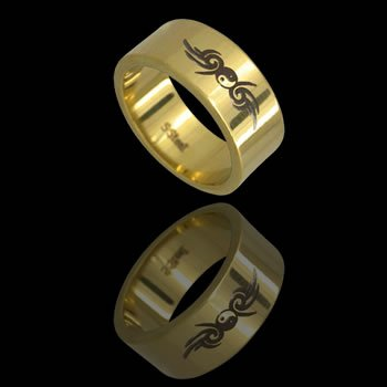 Gold Plated Ying-Yang with Tribal Ingraving (RSSLG-6)