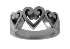 Pewter Ring with Hearts (PRN-102)