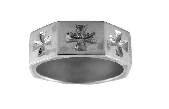 Pewter Band with Iron Cross Ingraving (PRN-26)