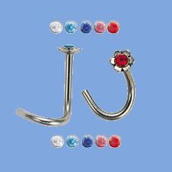 Flower with Jewel Nose Stud (JBN-3)