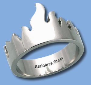 Stainless Steel Ring with Flame Design (RSSO-278)