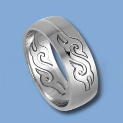 Stainless Steel S Tribal Puzzle Ring (RSSO-337)