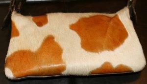 Vintage Distressed Leather Calf Hair Purse