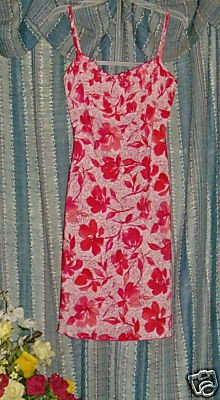 Vintage 70s Red Pink jonathan martin gathered bust sz 3