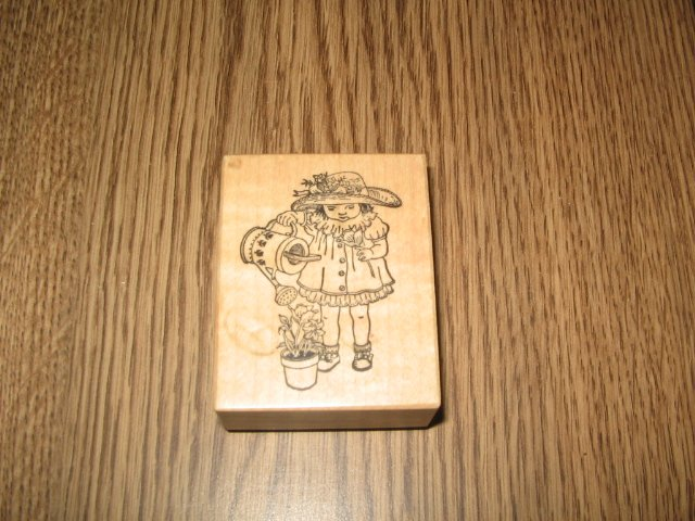PSX Flower Girl Wood Mounted Rubber Stamp D-1029 Retired Collectible