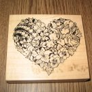 PSX Floral Heart Wood Mounted Rubber Stamp K-663 Retired Collectible