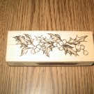 PSX Christmas Holly & Berries Wood Mounted Rubber Stamp G-1957 Retired Collectible