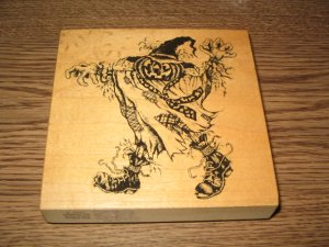 PSX Halloween Scarecrow Wood Mounted Rubber Stamp K-1295 Retired Collectible