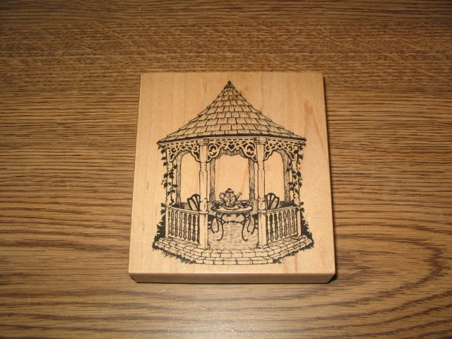 PSX Garden Gazebo Wood Mounted Rubber Stamp K-1746 Retired Collectible