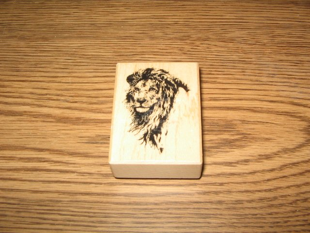 PSX Lion Head Wood Mounted Rubber Stamp D-410 Retired Collectible