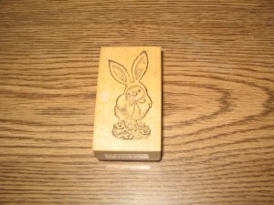 PSX Easter Bunny Chick Wood Mounted Rubber Stamp D-1058 Retired Collectible