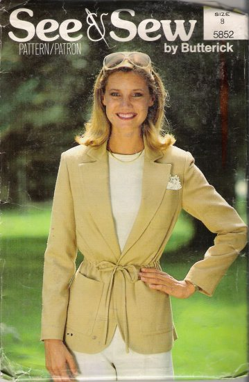 Misses' Semi-Fitted Jacket Sewing Pattern Size  8 Butterick 5852 UNCUT