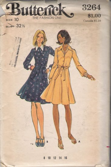 Vintage Sewing Pattern Misses' Semi-Fitted & Flared Dress 1970s Size 10  Butterick 3264 UNCUT
