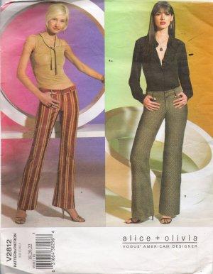 Misses' Low Rise Pants Sewing Pattern Size 18-22 Vogue 2812 UNCUT