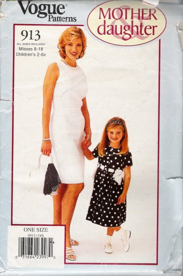 Mother & Daughter Dress Sewing Pattern Vogue 913 UNCUT