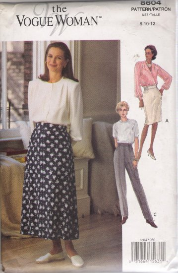 Misses' Skirt & Pants Sewing Pattern Size 8-12 Vogue 8604 UNCUT