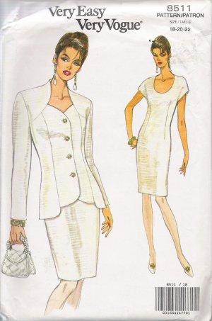 Misses' Jacket & Dress Sewing Pattern Size 18-22 Vogue 8511 UNCUT