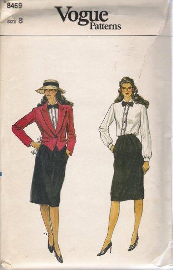 Vintage Sewing Pattern Misses' Jacket Skirt Blouse Size 8 Vogue 8459 UNCUT