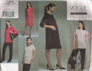 Misses' Maternity Top Dress Skirt Pants Sewing Pattern Size 6-10 Vogue 2818 UNCUT