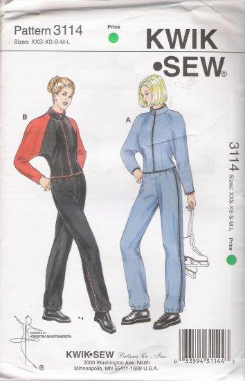 Misses' Jacket & Pants Sewing Pattern Size XXS-L Kwik Sew 3114 UNCUT