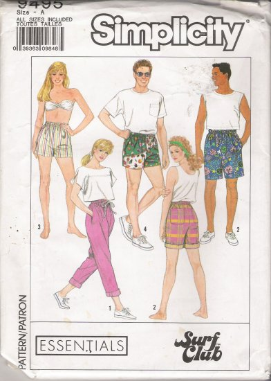 Misses', Men's & Teen Boys Bermuda Shorts Sewing Pattern Size XS-L Simplicity 9495 UNCUT