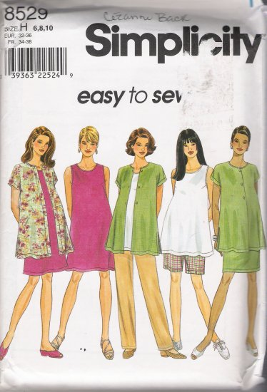 Maternity Shorts Dress Top Shirt Skirt Pants Shorts Sewing Pattern Size 6-10 Simplicity 8529 UNCUT