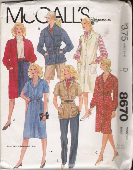 Misses' Coat Dress Jumper Sewing Pattern Size 12 McCall's 8670 UNCUT