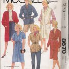 Misses&#39; Coat Dress Jumper Sewing Pattern Size 12 McCall&#39;s 8670 UNCUT