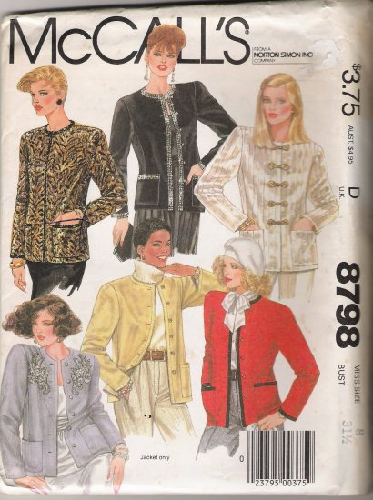 Misses' Jacket Sewing Pattern Size 8 McCall's 8798 UNCUT