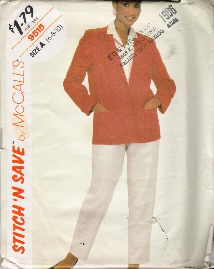Misses' Jacket & Pants Sewing Pattern Size 6-10 McCall's 9515 UNCUT