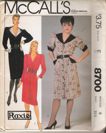Misses' Dress Sewing Pattern Size 8 McCall's 8700 UNCUT