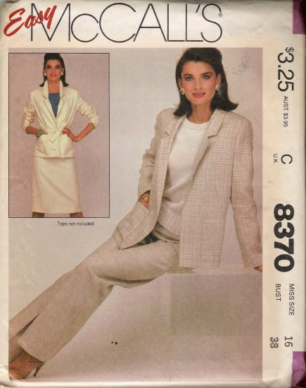 Misses' Jacket Belt Skirt Pants Sewing Pattern Size 16 McCall's 8370 UNCUT