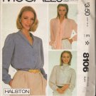 Misses' Halston Blouses Sewing Pattern Size 8 McCall's 8106 UNCUT