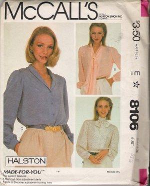 Misses' Halston Blouses Sewing Pattern Size 8 McCall's 8106 UNCUT