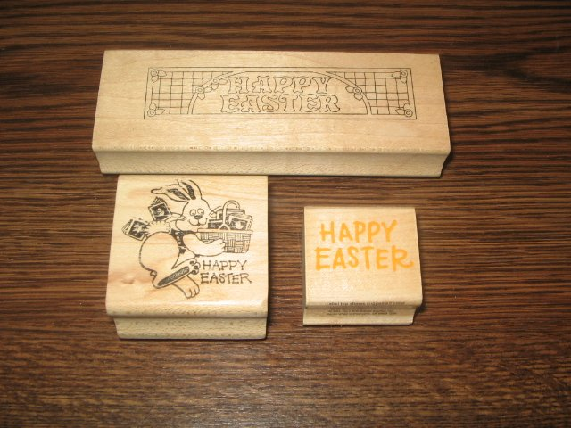 Easter Wood Mounted Rubber Stamps Lot Of 3